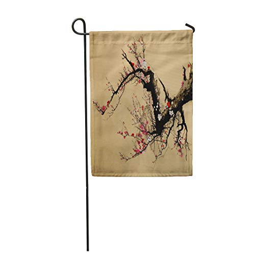 Semtomn Garden Flag 28x40 Inches Print On Two Side Polyester Pink Aroma Flowering Plum Tree in Chinese Style Red Botanical Painting Botany Home Yard Farm Fade Resistant Outdoor House Decor Flag ()