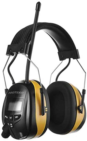 PROTEAR AM FM Hearing Protector,Safety Earmuffs with Audio Technology, Ear protection for Mowing, Snowblowing, Construction, Work Shops, 25dB NRR (Yellow)