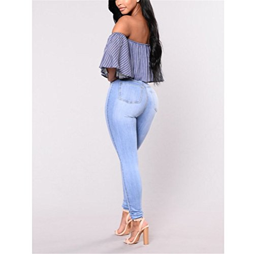 Up Trou Slim Stretch Femme Skinny Haute Dchir Crayon Taille Pantalons Jeans Pantalon Oudan Bleu Chic Push Et wnFB4OqXx