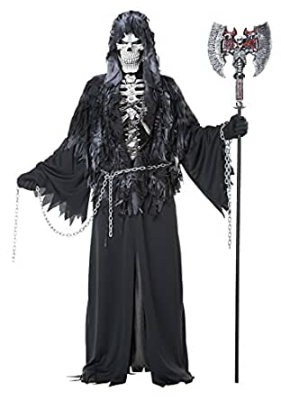California Costumes Men's Evil Unchained Scary Ghost Demon Skeleton Grim Reaper, Black, Small/Medium