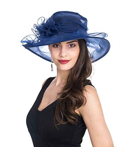SAFERIN Women's Kentucky Derby Sun Hat Church Cocktail Party Wedding Dress Organza Hat Two Tone Color (Navy With Sapphire Blue Line)