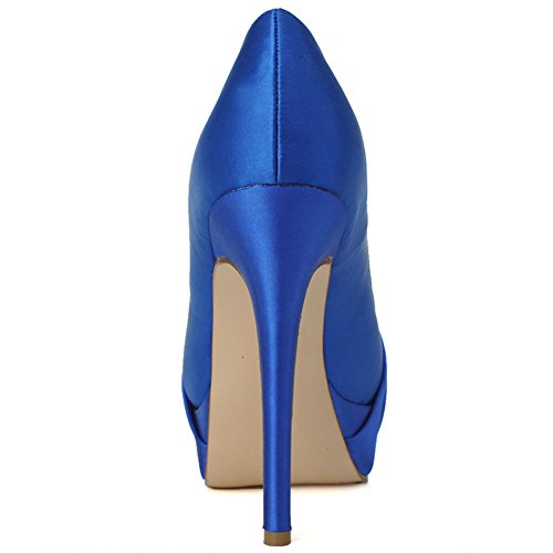 Elegant LOSLANDIFEN Platform Wedding Pumps Shoes Heel Women's Peep High Satin Vamp Blue Toe Pleated ZZaq5wrx