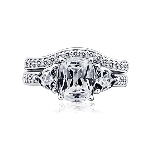 Diamonbliss Platinum Plated Silver 2.95 cttw Cubic Zirconia 100-Facet Bridal Ring Set Size-4