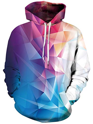 TUONROAD Realistic 3D Hooded Shirt Tops Colorful Color Block Burgundy Jade Geometric White Youth & Adult Ladies Hip Hop Hoodies Sweatshirt Autumn Men's Long Sleeve Pullovers with Big Pocket Front