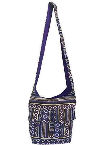 CLUB CUBANA Womens Ladies Ethnic Summer School Shopping Fashion Handmade Tote Long Shoulder Bag Purple