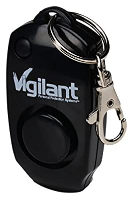 Vigilant 130dB Personal Alarm - Backup Whistle - Button Activated with Hidden Off Button - Bag Purse Key Chain Keyring Clip - Batteries Included - for Men Women Kids Students