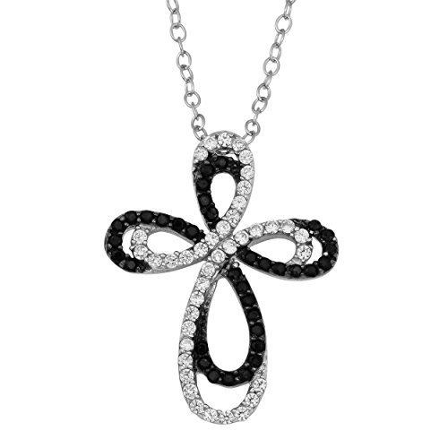 Silver Cubic Zirconia And Black Spinel Ribbon Cross Pendant Necklace (18 inch) ()