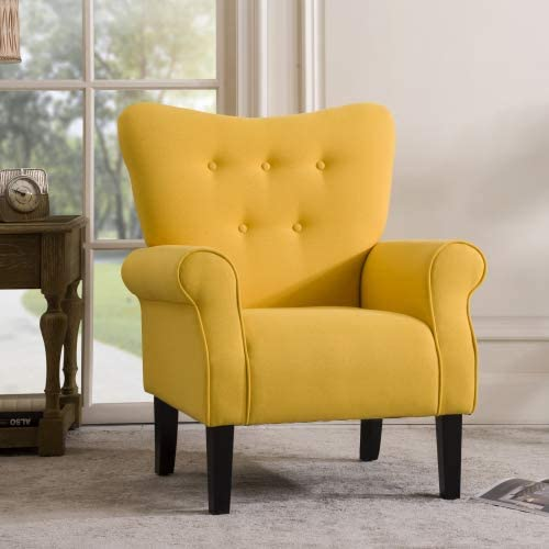 Modern Wing Back Accent Chair Roll Arm Living Room Cushion with Wooden Legs,Yellow