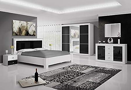 Chambre Complete Roma Noir Et Blanc Avec Tete De Lit Led 160x200