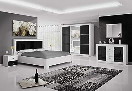 Chambre complète Roma Noir et Blanc laqué avec tête de lit LED 160x200 cm