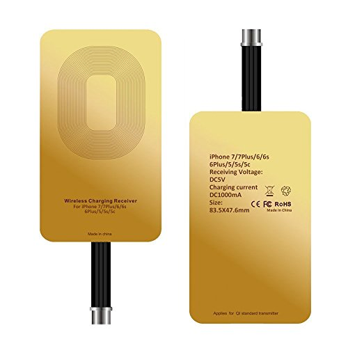 QI iPhone Wireless Charger Receiver ivolks 1000Mah Ultra Slim 0.5 MM Cordless Mobile iPhone Charger Portable QI Charging Stand Pad For iPhone 7/7 Plus,6/6 Plus, 6s/6s Plus/SE/5S/5C (1Pack)