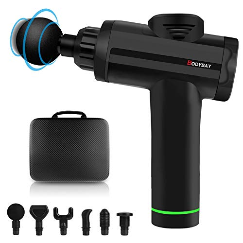 Bodybay Personal Massage Gun Deep Tissue Percussion Muscle Massager, Vibration Handheld 20 Adjustable Speeds Muscle Quiet Massager for Athletes Pain Relief and Recovery