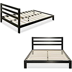 Zinus Modern Studio 10 Inch Platform 2000H Metal Bed Frame, Mattress Foundation, Wooden Slat Support, with Headboard, Queen