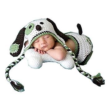 1af752f44 Memorz Newborn Infant Girl Boy Crochet Knit Costume Dog Photo Outfits  Clothes Cap Prop (White Green Dog)