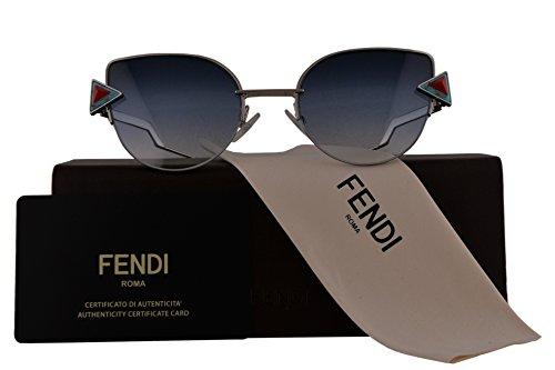 Fendi Authentic Sunglasses FF0242/S Silver w/Dark Blue Gradient Lens SCBNE FF 0242/S F0242/S FF0242S F0242S (52mm)