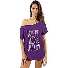 Awkwardstyles Take Me Drunk I'm Home W Off Shoulder Tops T-Shirt + Bookmark