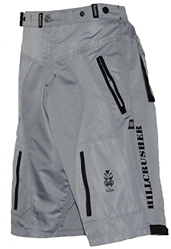 Astek Men's Gray Black MTB BMX Baggy Padded Mountain Bike Shorts (Medium)
