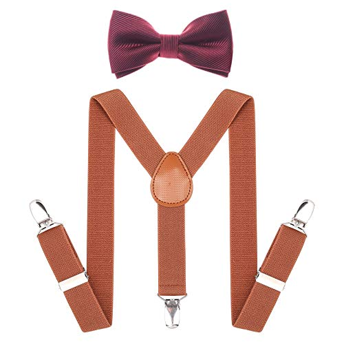 Child Kids Suspenders Bowtie Set - Adjustable Suspender Set for Boys and Girls (Brown+Wine red bowtie, 25Inches (5 Months to 6 Years))