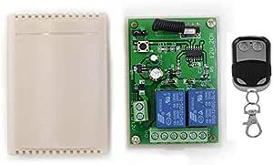 Receptor Universal 433 MHz Radio Receptor con Transmisor Autoaprendizaje 2 Canales para Garaje Puertas Portón Automática Persianas Luces Motor Momentary Toggle Latched Mode Relay DC 12V: Amazon.es: Bricolaje y herramientas