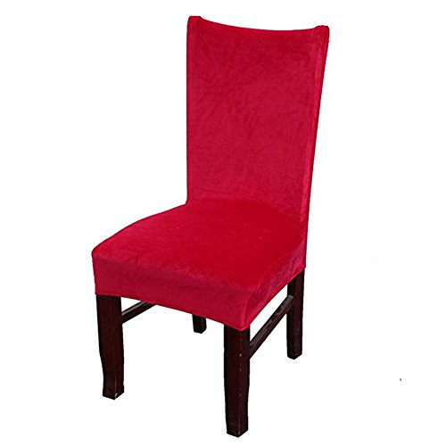 Red Velvet One Rose (Smiry 1 PC Velvet Stretch Dining Room Chair Covers Soft Removable Dining Chair Slipcovers, Rose Red)