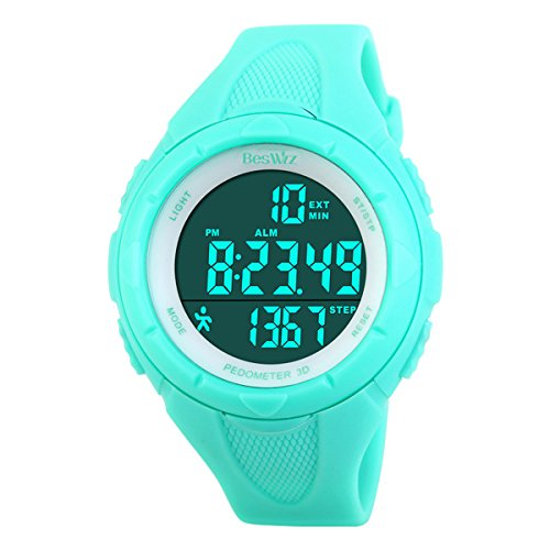 Digital Watches Outdoor Sport Waterproof Multi-Function Swimming Wistwatches with Alarm Stopwatch Watches Blue