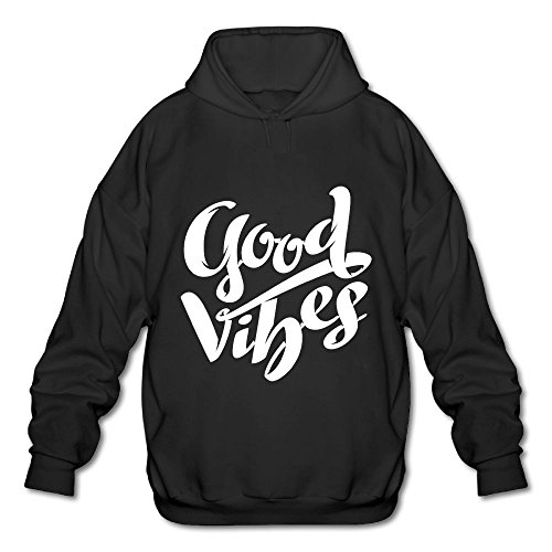 NSWY Men's Good Vibes Fashion Classic Soft Long Sleeve Simple Style Hooded Sweatshirt,Casual Comfort Fleece Hoodie Pullover Simple Mens Hoodie