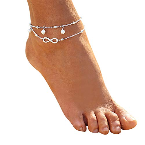 (Minimalist Anklet Gold Tone Infinite Love Beach Foot Chain with Beautiful Gift Box for Women Girls Jewelry (Silver))