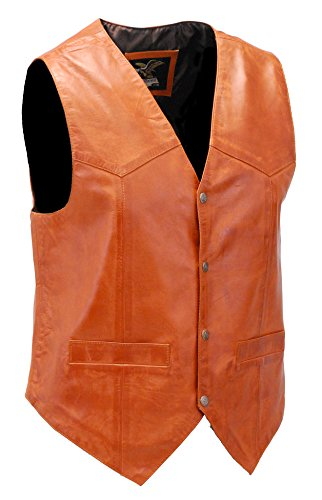 Brown Vintage Waxy Lambskin Leather Vest (2XL) #VM5081WN (Mens Lambskin Leather Vest)