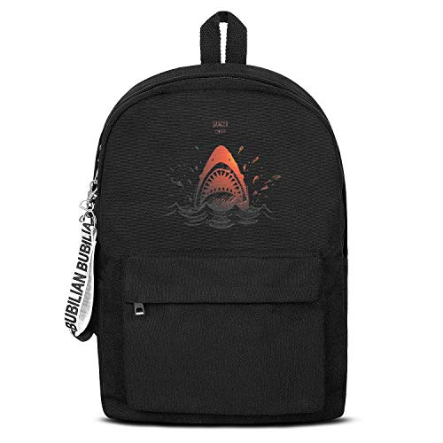 Dancer Shark Teeth Women Men Water Resistant Black Canvas School Backpack Lightweight Backpack