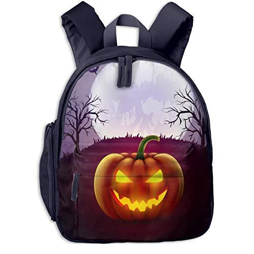 Halloween Pumpkin Background Double Zipper Waterproof Children Schoolbag With Front Pockets For Teens Boy -