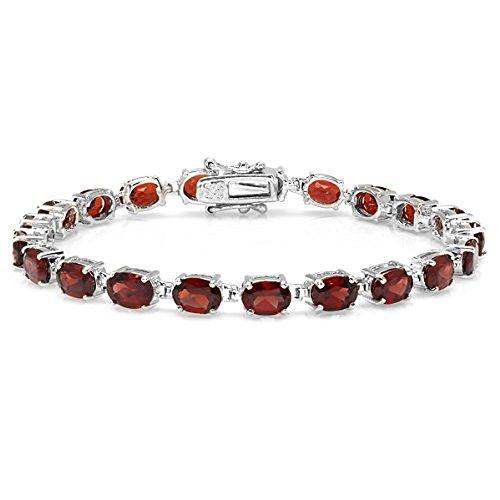 14.00 CT Oval Cut Red Garnet 925 Sterling Silver Tennis Bracelet (5 MM Width x 8 Inch Length) ()