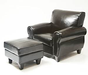 Roundhill Furniture Dinen Bonded Leather Club Chair with Ottoman, Black
