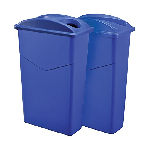 Dual Recycling Trash Container System, 23 Gallon, Blue