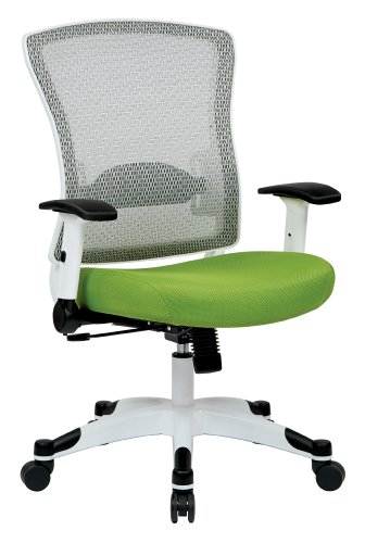 SPACE Seating Breathable Mesh Back and Padded Mesh Seat, Adjustable Arms, Tilt Tension and Lumbar Support with White Coated Nylon Frame Managers Chair, Green (Star Office Deluxe Mesh)