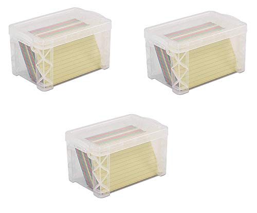 Advantus 40307 Super Stacker 3 x 5 Index Card Box, Clear, 3 Boxes (40307)