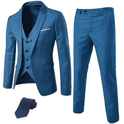 MY'S Men's 3 Piece Suit Blazer Slim Fit One Button Notch Lapel Dress Business Wedding Party Jacket Vest Pants & Tie Set Light Blue ()