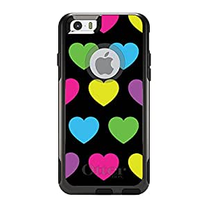 "CUSTOM Black OtterBox Commuter Series Case for Apple iPhone 6 (4.7"" Model) - Black Multi Color Hearts"