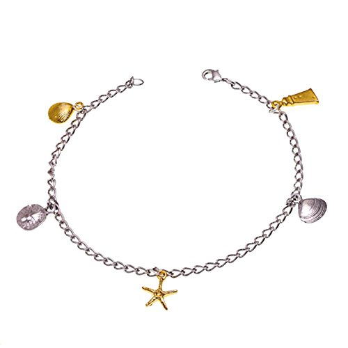 Starfish Clam Shell Sand Dollar Anklet TwoTone by Cape Cod Jewelry-CCJ