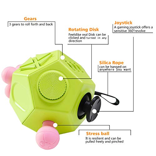 VCOSTORE 12 Sided Fidget Cube Stress and Anxiety Relief Depression Anti for All Ages with ADHD ADD OCD Autism Green Dodecagon Fidget Toy for Children and Adults