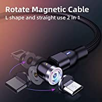 540 Rotate magnetic USB charging cable and magnetic phone charger cable for IOS & TYPE-C. Black Color