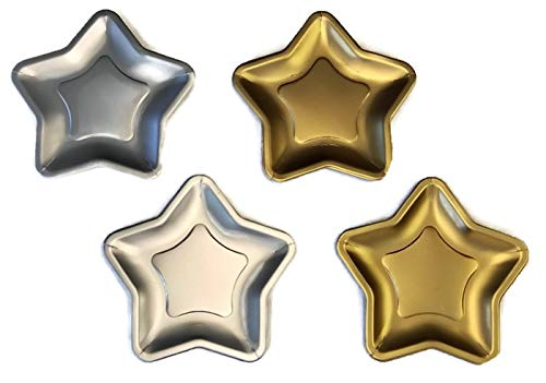 Hollywood Star Shaped 9.6 Inch Foil Paper Party Plates Silver (16) Gold ()