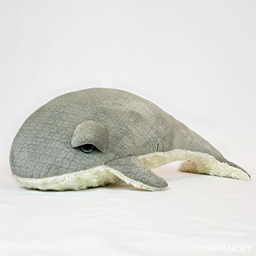 Whale Plush Stuffed Animal, Sea Creature Stuffed Animal, Ocean Life Soft Sculpture, Grey Whale Nursery Decor, Nautical Marine Animal by Lily and Peabody