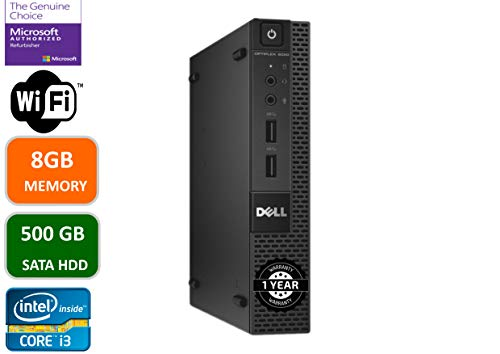 Dell Optiplex 9020 Micro Desktop PC, Intel i3-4160T-2.9 GHz, 8GB Memory, 500GB SATA, USB WiFi, Windows 10 Pro(Renewed)