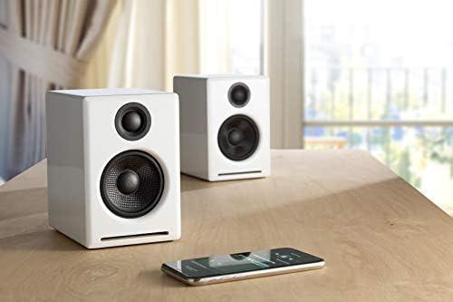 Audioengine A2 60w Aktiver Desktop Lautsprecher Integrierter Dac Analogverstärker Direkter Usb Anschluss 3 5 Mm Klinke Und Cinch Eingänge Kabel Inklusive Bluetooth Wireless Weiß Audio Hifi
