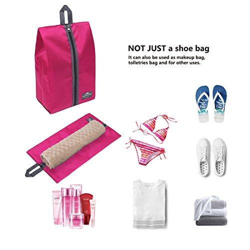 DOKEHOM DKA3030DPG1 Portable Nylon Travel Shoe Storage Organizer Bag (8 Colors) with Zipper Closure (Pack 4, Dark Pink) by DOKEHOM (Image #5)