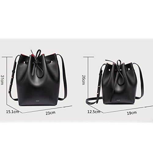 Cuir Seau Sac Dessiner Black à Main Sac Diagonale Sac Femme épaule Microfibre En H0wqS