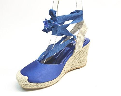 SARA LOPEZ - Sandalias de vestir de Satén para mujer Varios Colores multicolor 35 azul (bluette)