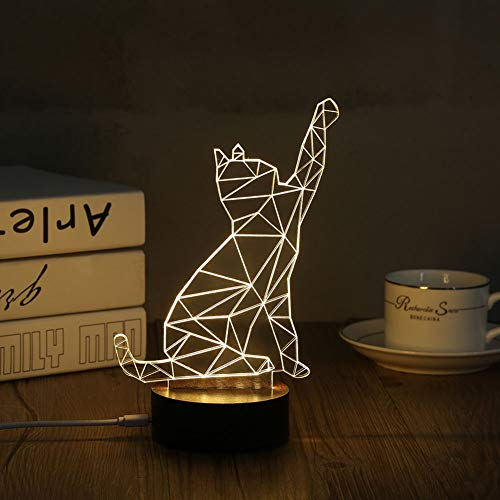 Hologram Lamp - 3d Acrylic Cat Table Lamp Nightlight Visual Desk Light Bedside Gift Personality - Signs Return Personalized Stickers Shot Gifts Socket Inking Address Shirts Self Stamp - Inking System