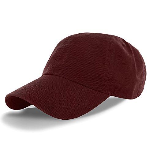 (Plain 100% Cotton Hat Men Women One Size Baseball Cap (30+ Colors) Maroon,One Size)