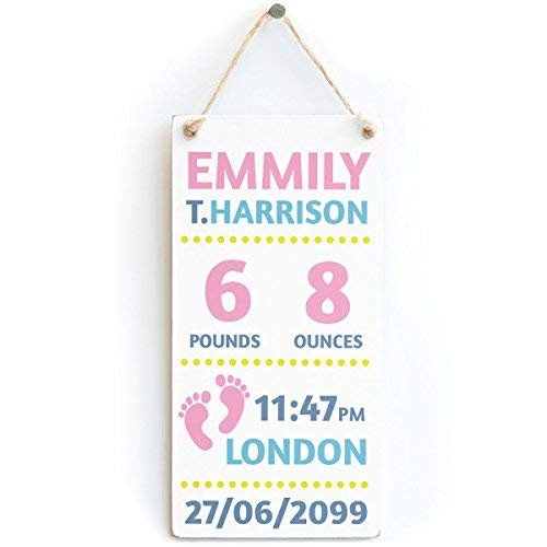 - Anyuwerw 15x30cm Personalized Newborn Baby Girl - Name, Surname, Birth Weight, Time of Birth & Birth Date - Custom Baby Shower Birth Plaque